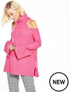 river-island-pink-cold-shoulder-jumper