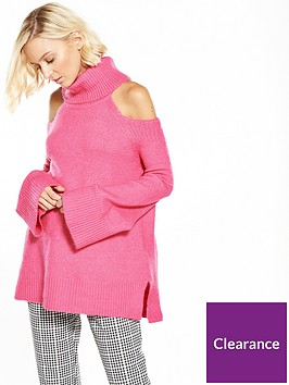river-island-pink-cold-shoulder-jumper