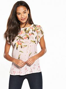 ted-baker-roozie-peach-blossom-woven-front-tee