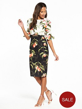 ted-baker-areea-peach-blossom-ruffle-dress