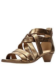 f563678f2ad8 Clarks Mena Silk Low Heeled Sandal - Bronze Metallic