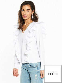 v-by-very-petite-ruffle-cotton-poplin-blouse