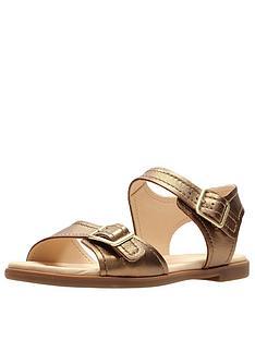 3f3b4f819e92 Clarks Bay Primrose Two Strap Flat Sandal - Bronze Metallic