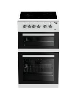 beko-kdvc563aw-50cm-double-oven-electric-cooker-white