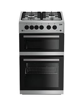 beko-kdg582s-50cm-twin-cavity-gas-cooker-silver