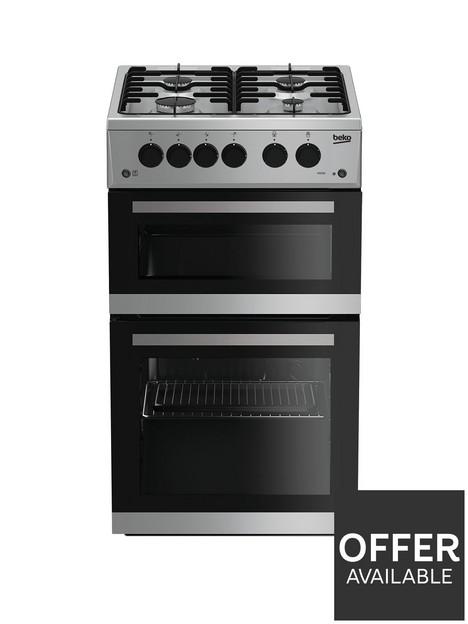 beko-kdg582s-50cmnbspwide-twin-cavity-gas-cooker-silver