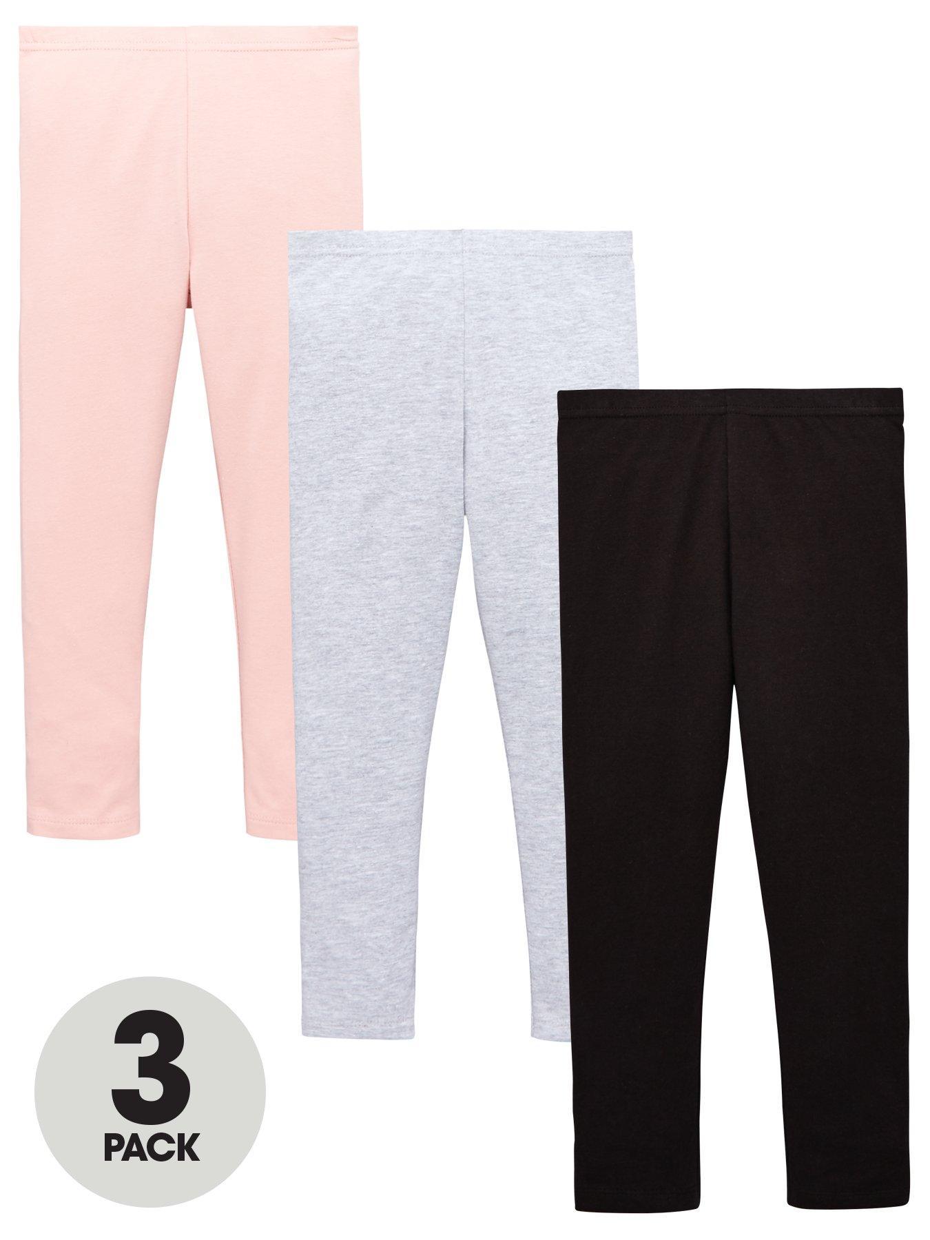 Childs Girl Stretchy 3//4 Cotton Legging Kids Plain Soft Sports Wear Novelty Pant