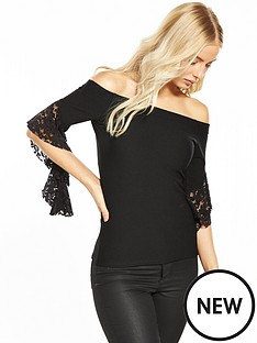 v-by-very-bardot-frill-sleeve-top