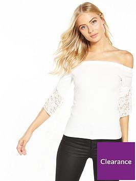 v-by-very-bardot-frill-sleeve-top