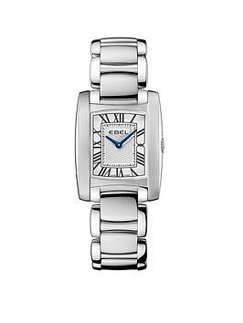 ebel-ebel-brasilia-roman-numeral-stainless-steel-bracelet-ladies-watch