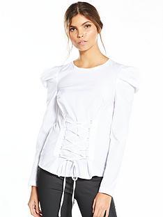 miss-selfridge-poplin-corset-mutton-sleeve-blouse