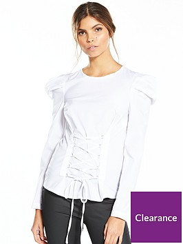 miss-selfridge-poplin-corset-mutton-sleeve-blouse