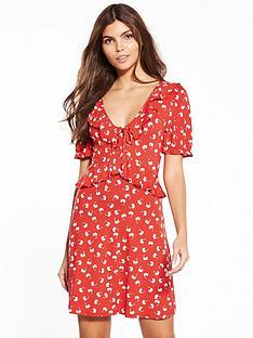 miss-selfridge-red-print-jersey-tea-dress
