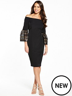 coast-adriana-stripe-bell-sleeve-bardot-dress