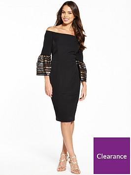 coast-adriana-stripe-bell-sleeve-bardot-dress
