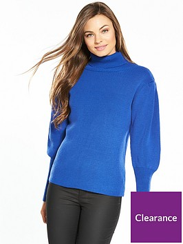 v-by-very-puff-sleeve-roll-neck-rib-jumper