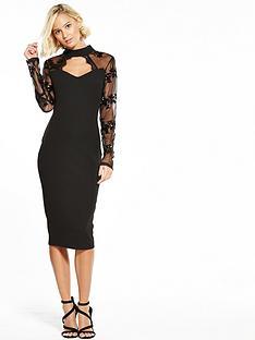 ax-paris-keyhole-sequin-lace-sleeve-bodycon-dress-black