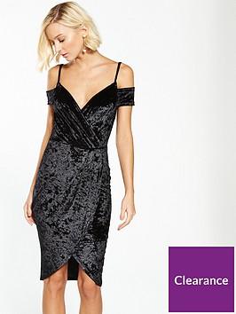 ax-paris-cold-shoulder-wrap-front-dress-black