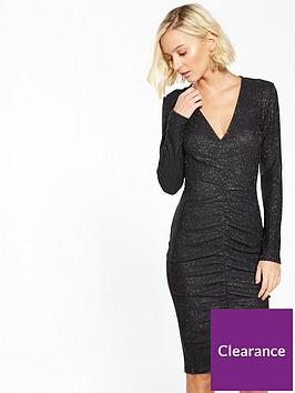 ax-paris-ruffle-front-sparkle-bodycon-dress-black