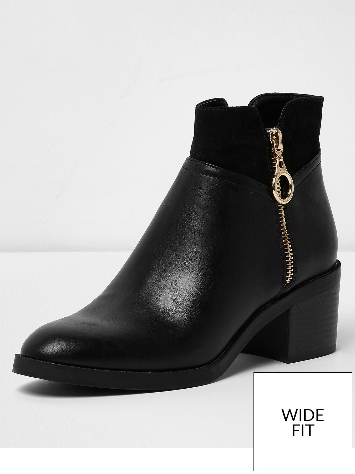 River Island River Island Wide Fit Block Heel Boot Black 1600209558 Women's Shoes River Island Boots