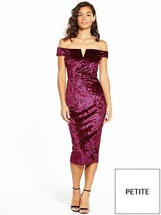 ax-paris-petite-bardot-velvet-midi-dress-plum