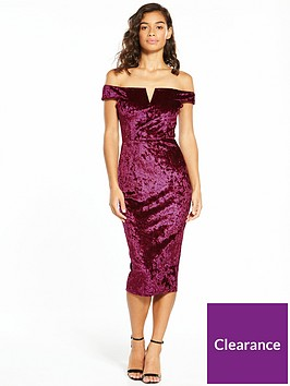ax-paris-petite-bardot-velvet-midi-dress-plum