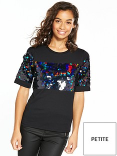 v-by-very-petite-sequin-panel-t-shirt