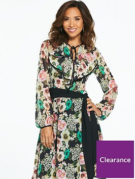 myleene-klass-bright-floral-printed-tie-neck-tea-dress