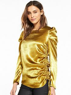 v-by-very-statement-sleeve-satin-top-ochre