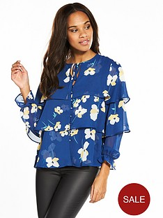 v-by-very-printed-tiered-blouse-blue