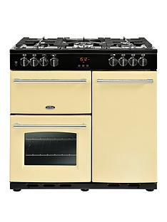 belling-90dft-farmhousenbsp90cm-dual-fuel-range-cooker-with-connection-cream