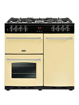 Belling   90Dft Farmhouse 90Cm Dual Fuel Range Cooker With Connection - Cream