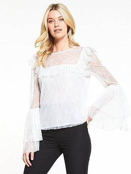 v-by-very-pleat-lace-detail-top-ivory