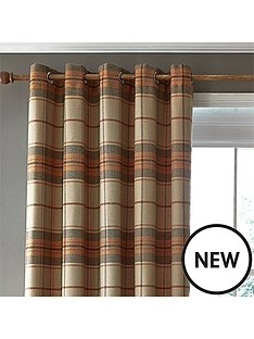 catherine-lansfield-catherine-lansfield-brushed-heritage-check-lined-eyelet-curtains-66x54