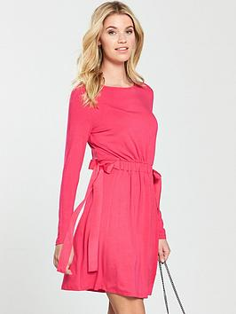 v-by-very-bow-side-jersey-dress-hot-pink