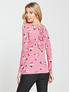 v-by-very-bow-back-top-print