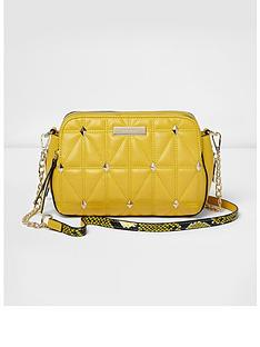 river-island-river-island-yellow-quilted-studded-cross-body-bag