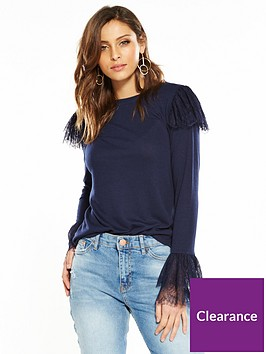 v-by-very-frill-lace-snit-top-navy