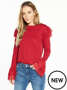 v-by-very-frill-lace-snit-top-red