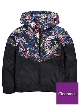 dfb794b329e Nike Nike Older Girl Scribble Print Windrunner Jacket