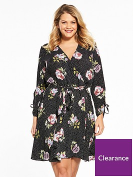 v-by-very-curve-ruched-sleeve-wrap-dress-printnbsp