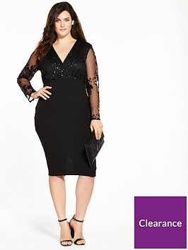 ax-paris-curve-sequin-wrap-front-dress-black