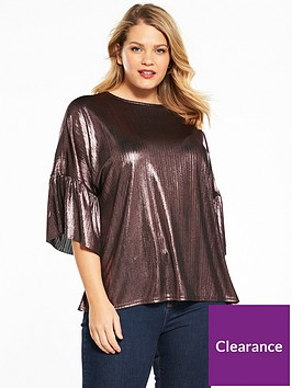 v-by-very-curve-fluted-sleeve-metallic-top-pink