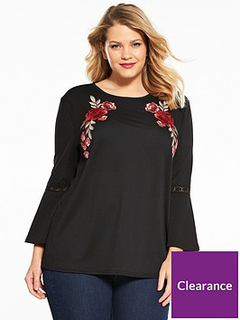 v-by-very-curve-appliqueacutenbspfluted-sleeve-top-black