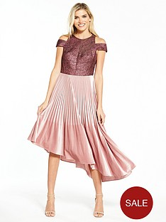 coast-delores-velvet-pleated-dress-dusty-pink