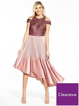 coast-delores-velvet-pleated-dress-dusty-pink