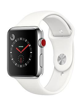 Buy Brand New Apple Watch Series 3 Gps Cellular 42Mm Stainless Steel Case With Soft White Sport Band