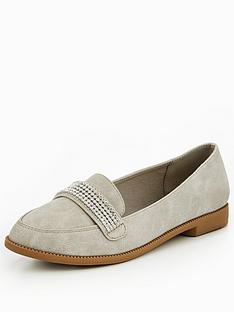 v-by-very-tessy-diamante-trim-loafer-grey