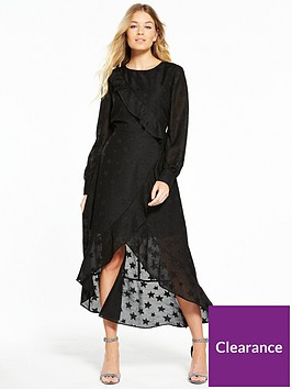 v-by-very-long-sleeve-dipped-hem-frill-midi-dress