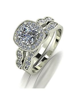 Moissanite Moissanite 9Ct Gold 1.75Ct Equivalent Total Cushion Cut Ring Set Picture